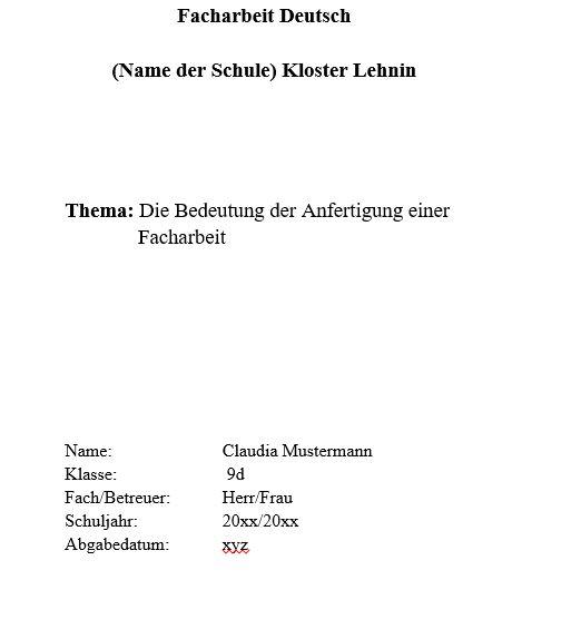 muster_deckblatt - Facharbeit Erzieher Muster