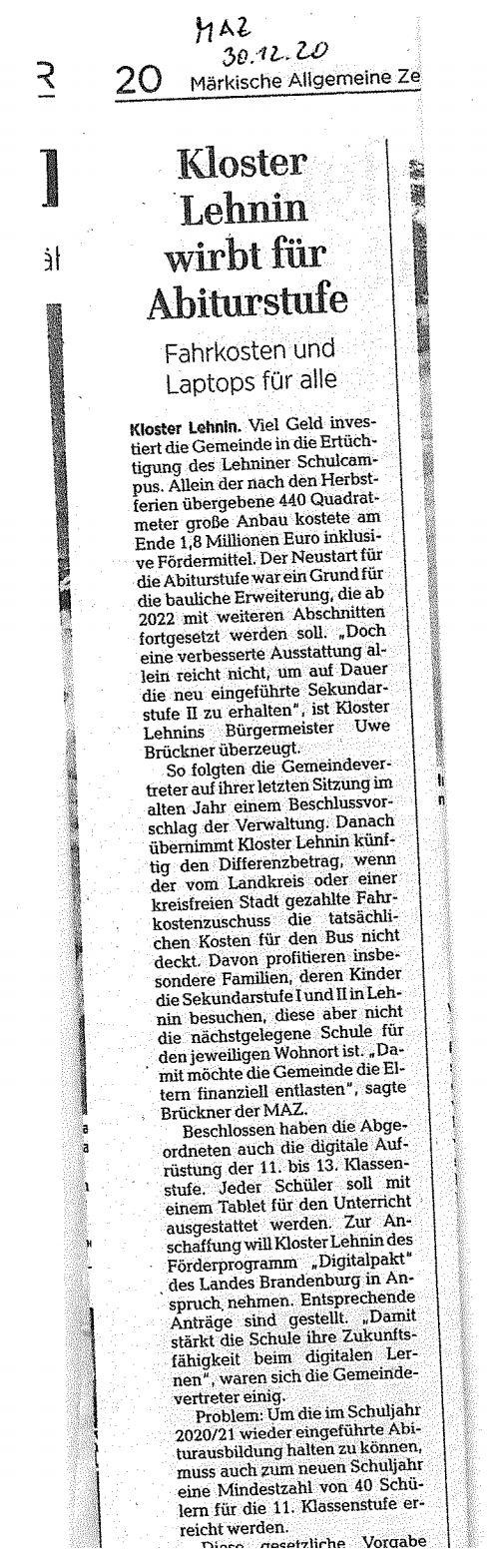 Kloster Lehnin wirbt für Abitur